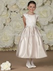 Oyster/ivory Lace Cap Sleeves lLce Appliques Trim Sides of Bodice and Waistline Box Pleated Firndl Skirt Flower Girl Dress
