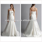 Quality Strapless A-Line Court Train Taffeta Arabic Wedding Dress HS1263