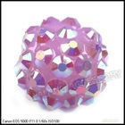 Wholesale purple Resin Rhinestone Charms Ball Spacer Pave Bead 110015