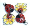 fashion enamel ladybug charms, enamel insect charms for kids, costume accessories jewelry charms