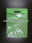 Non woven green Die cut handle two sides different material packaging bag