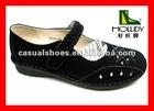 2012 Comfort black leather flat rubber sandal shoes women