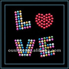 love designs iron on hot fix rhinestone motif for short jeans