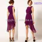 2013 Fashionable High-Low Summer Chiffon Ladies Casual Dresses Pictures SD379