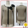 Ladies` Newest Fashion Knitted Coat With Bowknot 8500-1