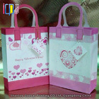 Romantic purple heart shape design valentine paper gift bag with paper tag