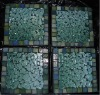 square 9*9cm green powdered tempered glass coaster