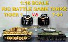 *Radio comtrol/remote control (R/C )model tank, 1/16 R/C Battle Game Tanks: Russian T-34/85 VS German Tiger 1