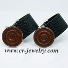 Brass Leather Cuff links