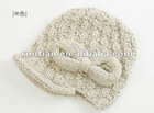 Fashion lady's Hand Knitted Wool Blend Bow Knot Hat