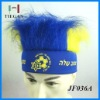 color football sports fans headband wig with logo printing for promotion