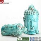 11 inch cheap blue glazed ceramic buddha head sculpture
