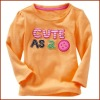Girls 100% Cotton Applique Long Sleeve O-Neck T-shirt