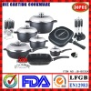 Die-casting Aluminum Nonstick Cookware Set|Induction bottom|Ceramic coating|Marble coating|Saucepan|Soup Pot|Double pan|Roaster