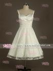BM0909 Elegant Spaghetti Strap Knee Length Ivory Lace Satin Zuhair Murad Evening Dresses for Sale
