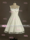 BM0909 Elegant Spaghetti Strap Knee Length Ivory Lace Satin Zuhair Murad Evening Dresses for Sale