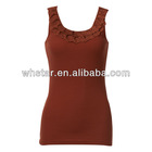 Wholesale plain tank tops with falbala