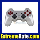 Polished Chrome Replacement Housing / Shell For PS3 Dualshock 3 Controller With Red Inserts