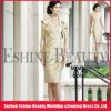 Knee-length satin pleats V-neckline straps with coat mother of the bride dresses with long sleeves