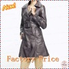 Women's fashion long leather coat with belt 2012
