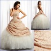 Opulent Taffeta and Tulle strapless ball gown with hand made embroidery lace Quinceanera Dresses SH672