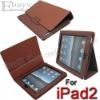 Slim-Fit Protective PU Leather Case for Apple iPad 1/2 Brown with Stand Holder DZ-155