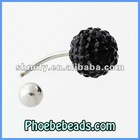 Sparkling Body Jewelry Navel Belly Piercing Rings Belly Button Ring Bar Black Rhinestone Crystal Stainless Steel Charms BBR-A007