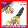 Earphone Jack dust Plug Accessory With Pink Crystal For CellPhone