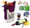 useful picnic bag with wine
