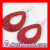 Red Crystal Bamboo Inspired Earrings