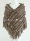 ladies' fashion shawl with rabbit fur/knitted shawl for women