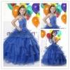 Blue Organza Halter Ball Gown Beaded Flower Girls' Dresses
