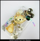 2012new fashion transparent clear with hello kitty and crystal diamond case for iphone 4S