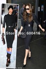 Newest Spring & autumn Victoria Style Black 3/4 Sleeve Stretch penciel Dress with a belt 120720HU01