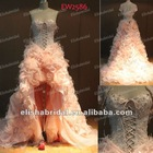 Pink Luxurious Sweetheart Beaded Corset Bodice Feather Front Short And Long Back Wedding Dress