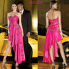 Sweetheart Neckline Beaded Trim High Low Hem Tiered Ruffle Skirt Chiffon Western Party Wear Dresses