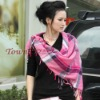 Hot Lady's fashion Stripe Fringe Plain Square scarf