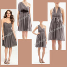 Multifunctional EG-004 Grey One-Should Sleeveless Knee-Length A-Line Chiffon Bridesmaid Dresses