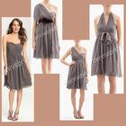 Multifunctional EG-004 Grey One-Should Sleeveless Knee-Length A-Line Chiffon Bridesmaid Dresses