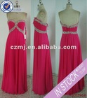 Long fuchsia sweetheart beaded chiffon pretty evening dress 2012