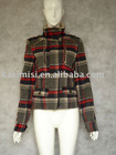 ladies fashion jacket/check coat(010311)