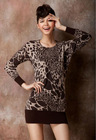100% soft pure wool leopard sweater waist slimming