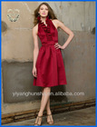Cranberry Crystal Satin Ruffle Neck Halter Bridesmaid Dress