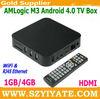 AMLogic M3 tv box 1GB/4GB Cortex A9 1.2GHz Android 4.0 WiFi & RJ45 Ethernet 1080P HDMI & AV output