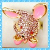 DKR244 hot design gold tone colorful rhinestone lovely rabbit ring