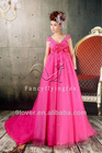 holiday sale off the shoulder fuchsia empire pregnant women dresses with chapel train OK-13