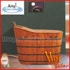 New design indoor free standing wood bathtub ,cedar wood spa tub