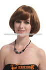 Auburn short synthetic curly full lace wig for women
