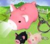 Pig shaped LED light keychain promotion gift with sound