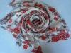 Ladies silk & cashmere floral print worsted woven scarf